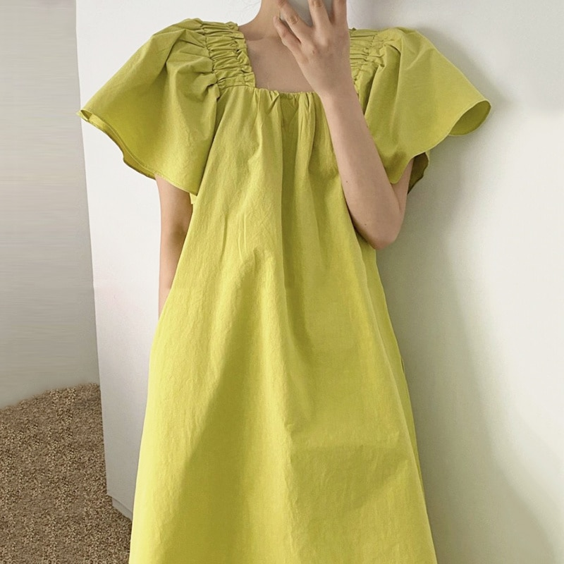 Summer New Style Thin and Small Collar Loose Dress Casual Trumpet Sleeve Female Growth Dress