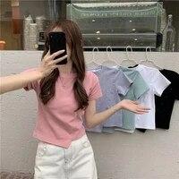 ikengling girls short irregular short sleeved shirt womens summer 2021 new design sense niche t shirt slimming top black wear