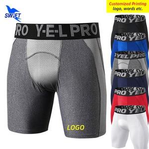 Customized LOGO Men Quick Dry Short Running Leggings Compression Yoga Tights Gym Fitness Sportswear Shorts Pants Male Underwear