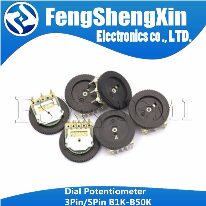 10 Uds 3pin de ajuste potenciómetro B102 B103 B203 B503 B202 B502 B104 B1K B10K B20K B50K 16*2 potenciómetro de esfera interruptor de volumen