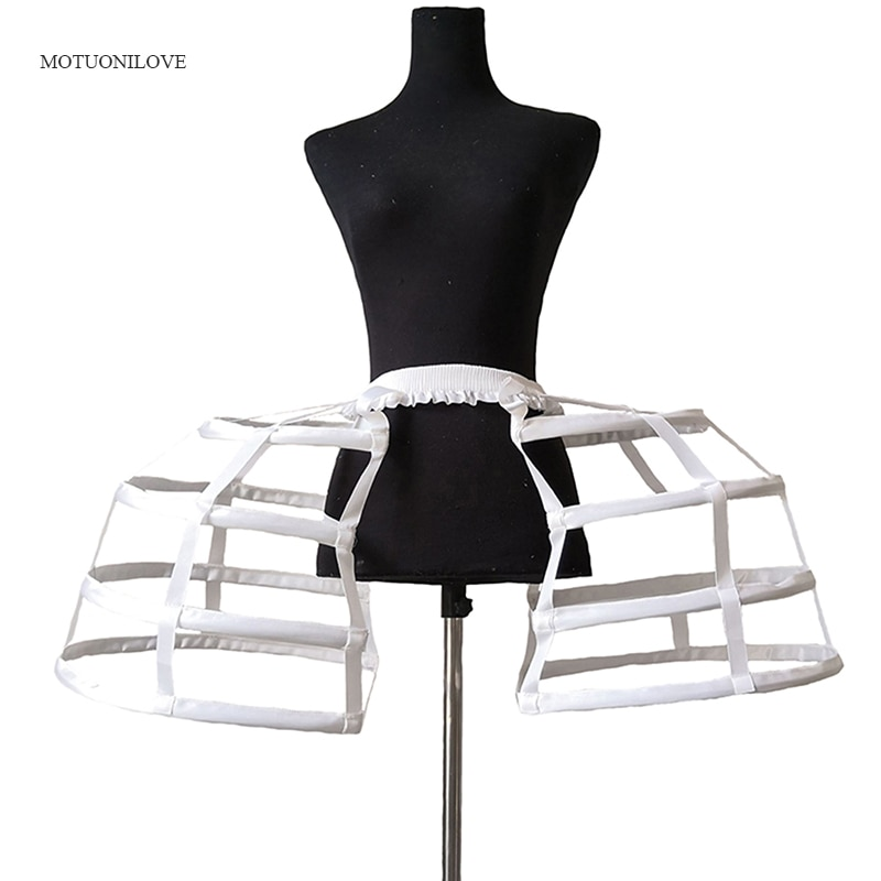 Cosplay Fish-bone Underskirt Petticoat Crinoline Satin Womens Hollow Lolita Dress Short Bilateral Birdcage Crinoline Slips