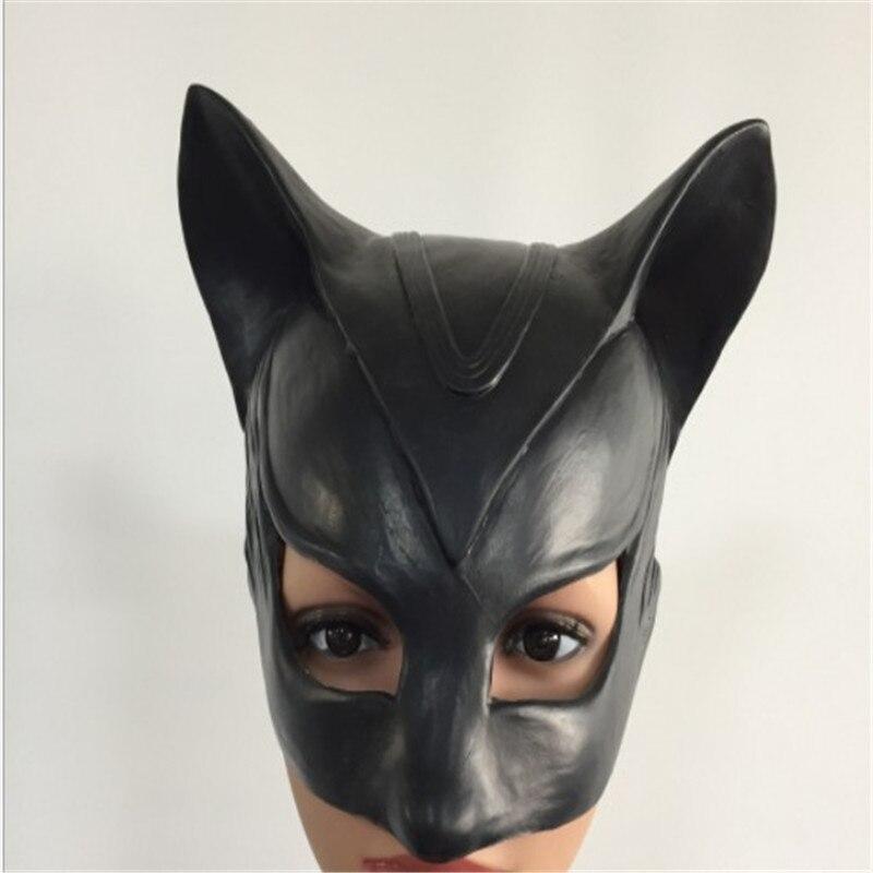 Disfraz de Batman de Catwoman, máscara de látex natural para mujer, accesorios para espectáculo de Halloween, máscara de personaje Sexy