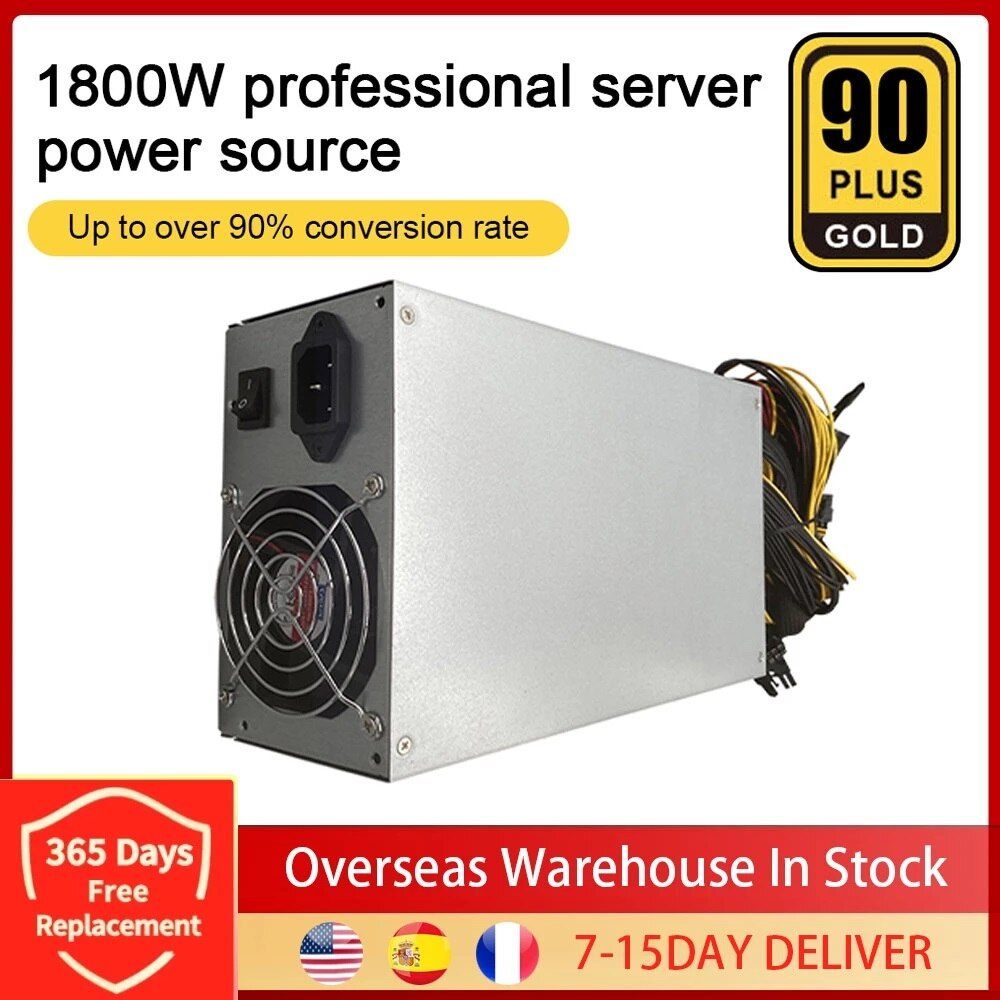 1800W ETH Mining Machine Power Supply 180-240V Input 10 x 6pin 95% Efficiency Support Multi-GPU For Bitcoin Mining Dropshipping