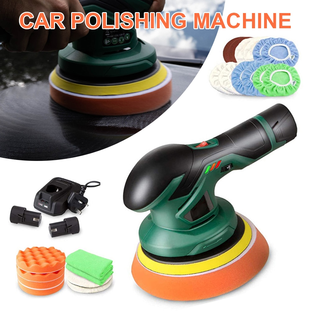 12V Electric Car Polishing Machine Cordless Polisher Rechargeable Orbit Polisher Variable Speed for Car Waxing Buffing Tools