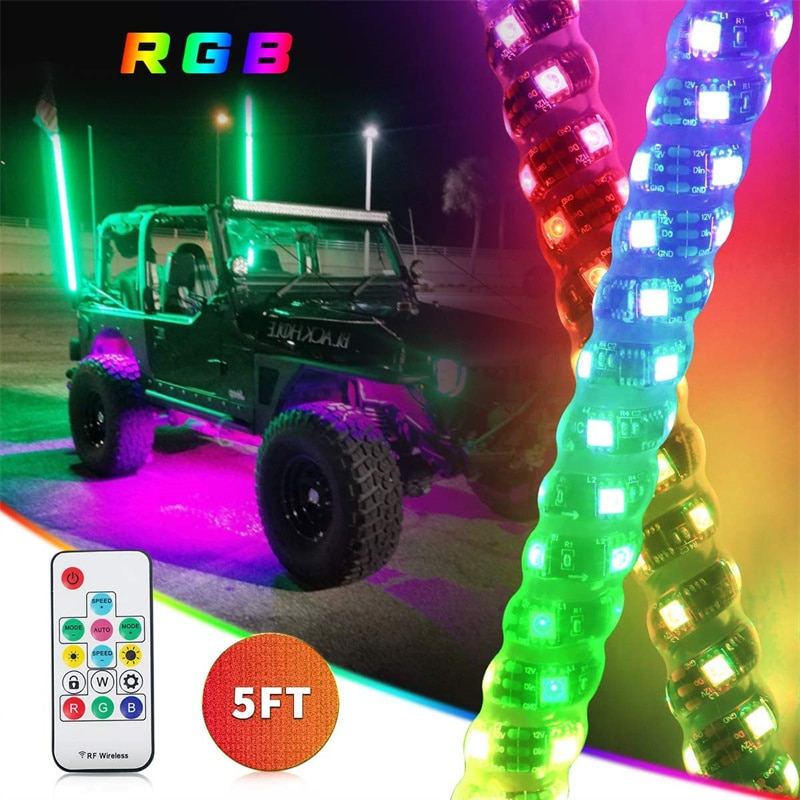 RGB LED Whip Lights RF Wireless Remote Controller Compatible for Jeep UTV ATV RZR Polaris Dune Buggy Sand Rails with Flag