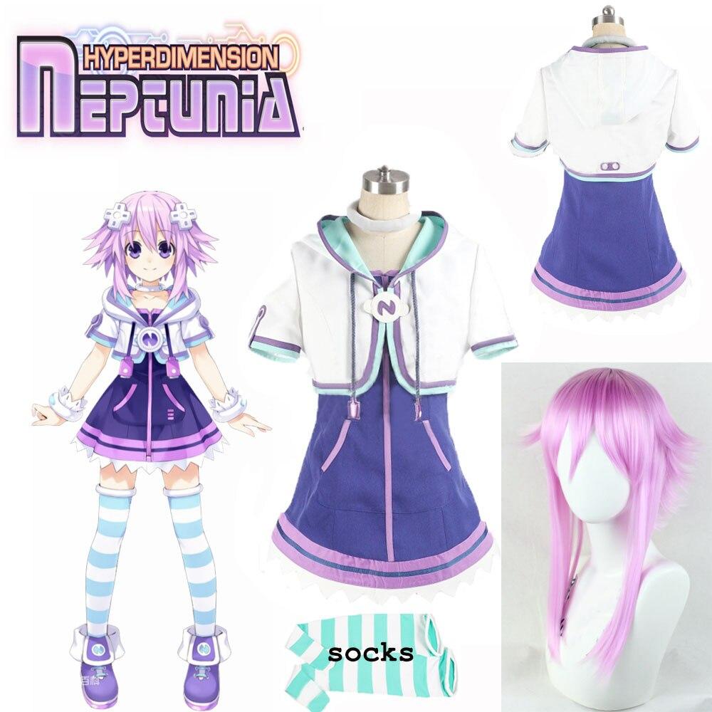 Disfraz de Cosplay de Hyperdimension Neptunia Neptune 2020, uniforme para Halloween, abrigo, falda, calcetines y accesorios para el pelo hechos a medida