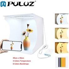 PULUZ 30cm Studio Diffuse boîte souple pliant Portable anneau lumière éclairage Photo Studio tir tente boîte Kit 6 couleurs décors