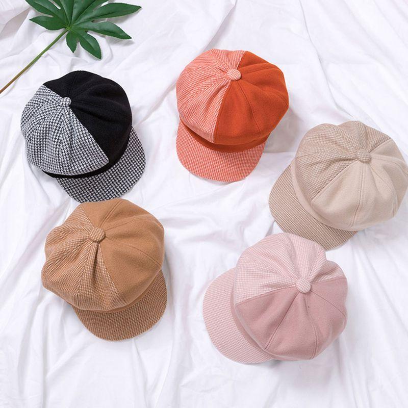 Klv chapéu do bebê octogonal retro newsboy boné para meninas meninos outono inverno crianças chapéu para 3-8 ano