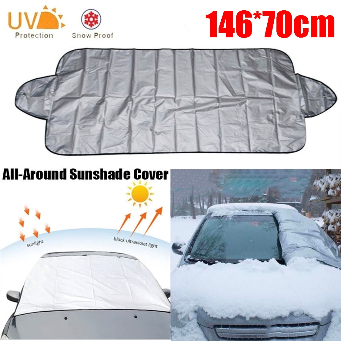 Car Windshield Cover Anti-UV Snowproof Full Protection Double Sided Windscreen Cover Sun  Snow Ice Universal Shields 146*70cm