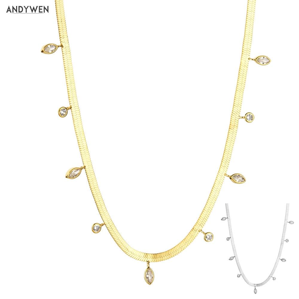ANDYWEN 925 فضة الذهب سلسلة قلادة المختنق 2021 البيضاوي الزركون كريستال مجوهرات فاخرة موضة روك الشرير هدية حفلة