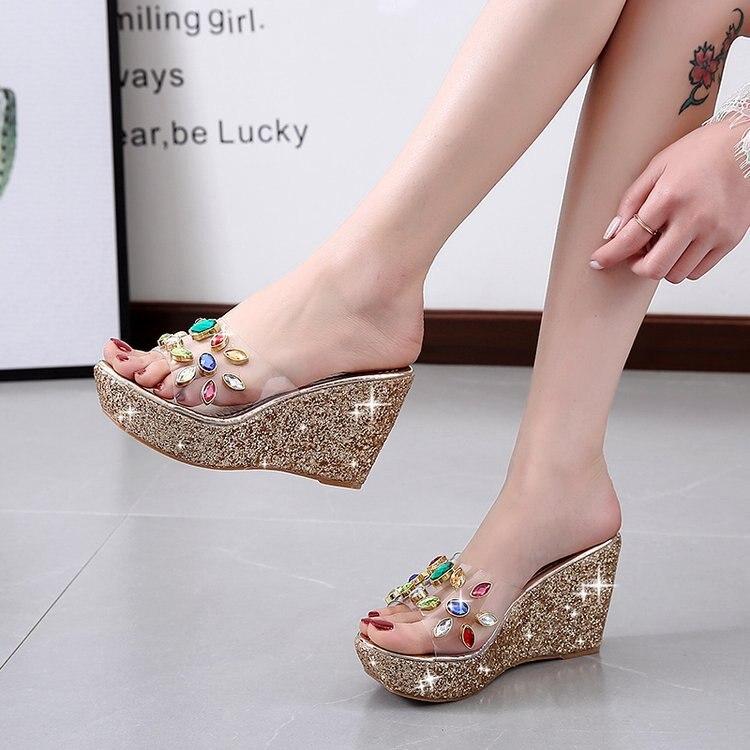 Sandalias de tacón para mujer de 11CM, sandalias Tacón de Cuña para mujer, sandalias de mujer transparentes con diamantes de imitación