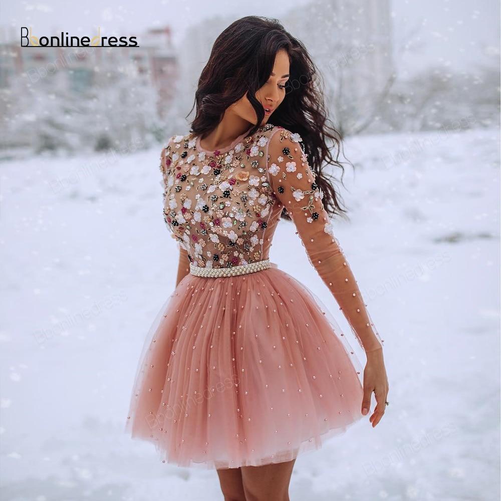 Bbonlinedress Homecoming Dress Tulle Long Seeve Above Knee Mini Cocktail Dresses Short Party Wear Gown vestido de festa curto