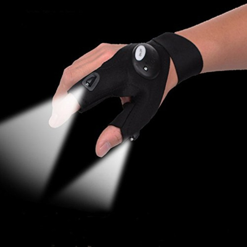 Fingerless Glove LED Flashlight Torch Outdoor Tool Fishing Camping Hiking Survival Rescue Multi Light Tool Left/Right Hand