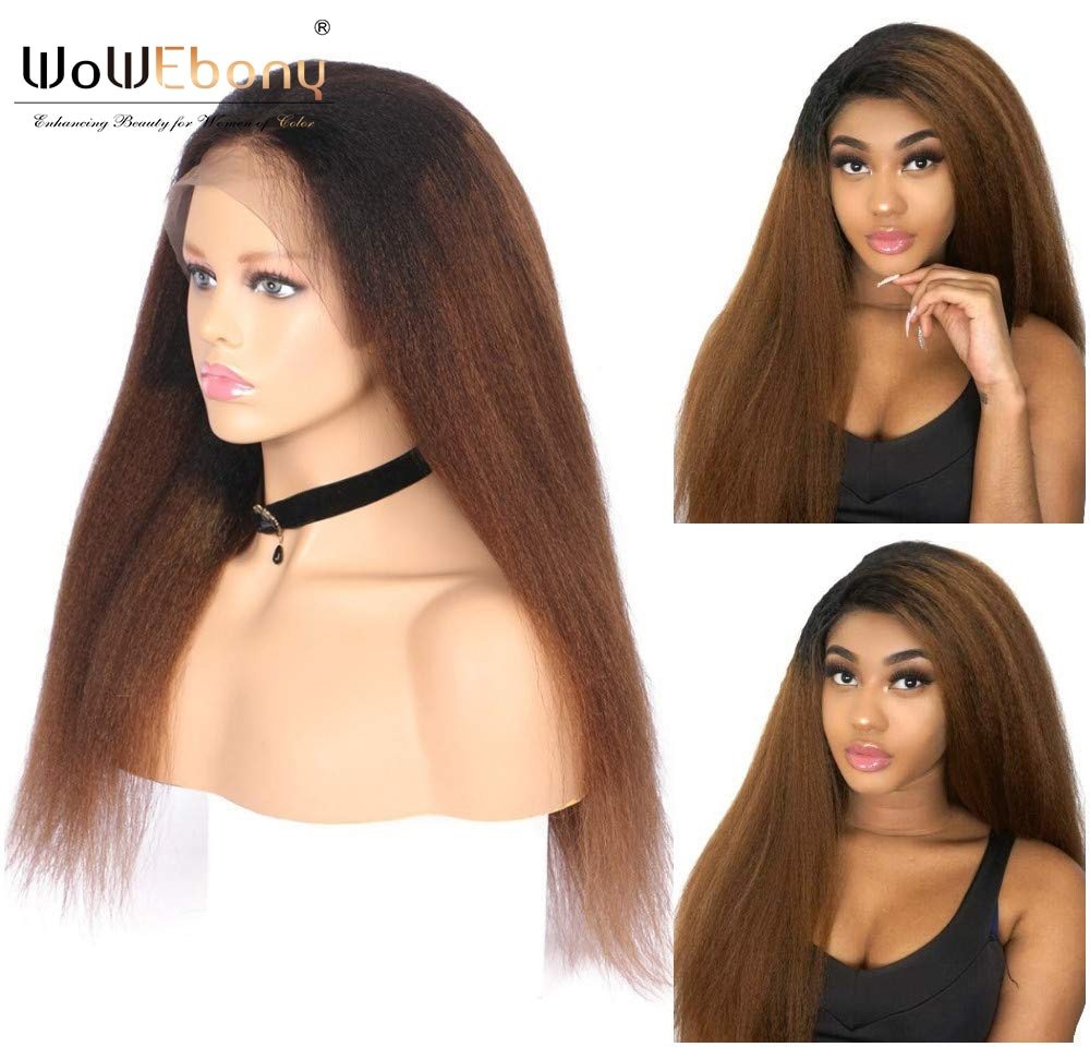 Ombre 13x1 lace front wig 1b30 brown kinky straight human hair wigs for women deep part lace wig highlight kinky straight wig