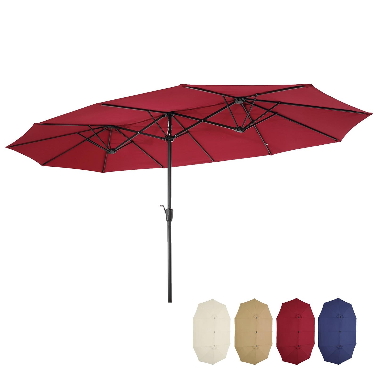 4 Colors 15x9ft Sunshade Large Double-Sided Rectangular Outdoor Aluminum Twin Patio Market Umbrella[US-Depot]