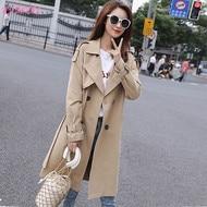 2021 الخريف جديد سترة واقية المرأة منتصف طول الكورية نمط معطف شعبية باركر فضفاضة مزدوجة الصدر زنار الفرنسية معطف