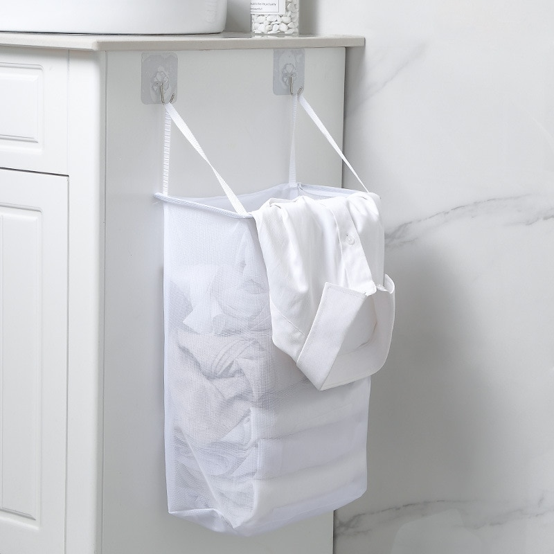 Cloudsweet Portable Breathable Mesh Laundry Basket Foldable Wall Mounted Dirty Clothes Basket Bathro