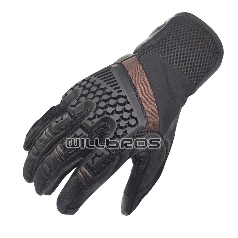 Locomotive Downhill Bike 3 Sands Vented Geniune Leather Gloves Motocross Motorcycle Mountain Bicycle Black Glove enlarge