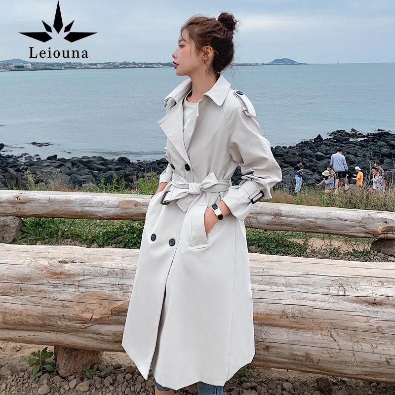 معطف نسائي طويل غير رسمي ضيق من leiona معطف للنساء بحزام معطف نسائي منفضة ملابس خارجية للنساء ملابس ربيع وخريف