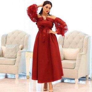 New Arrival Red Short evening dresses Lace Long sleeve muslim evening dress women Vestidos elegantes plus size dress