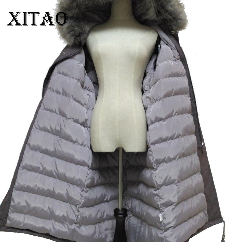 XITAO grueso largo Parks mujeres Corea moda nuevo bolsillo Split cordón con capucha cintura ancha 2019 otoño invierno abrigo NHB-001