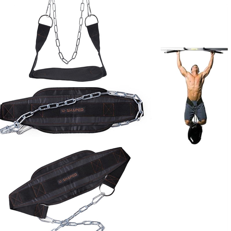 Плотный Неопреновый Пояс для поднятия тяжестей с цепью для подтягивания подбородка гири штанги пояс для фитнеса бодибилдинга