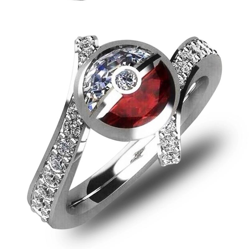 Huitan женское кольцо с Пикачу Pokemon Finger Magic Monster Ball, модный подарок, аксессуары, опт, кольцо с цирконием