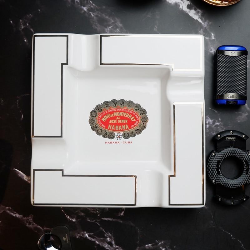 Home Cigar Ashtray Large Ceramic Square Ashtray Living Room Creative Personality 4 Slot Ash Tray Holder Tobacco Cigarette enlarge