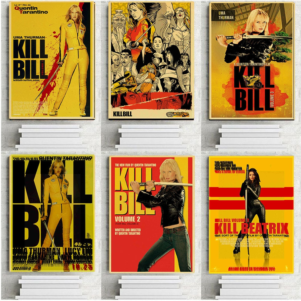 quentin-tarantino-kill-bill-movie-posters-retro-kraft-paper-poster-print-for-home-room-wall-decoration-classic-movie-poster