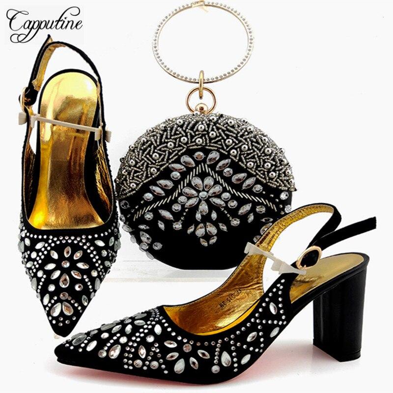 Último diseño Elega zapatos de punta puntiaguda y bolsa Set negro Color africano zapatos de mujer con bolsa a juego para fiesta de noche