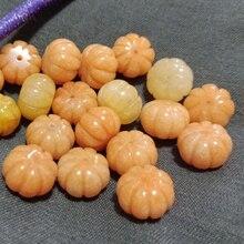 10 pièces perles en vrac jaune topz sculpté citrouille 10*14mm pour bijoux à bricoler soi-même faisant FPPJ perles en gros nature gemme pierre