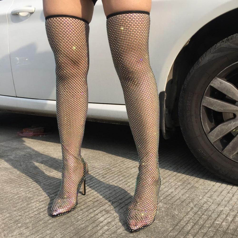 حذاء نسائي طويل بكعب عالٍ ، جورب شبكي قابل للتمدد ، كريستال ، فوق الركبة ، فخذ شبكي لامع ، كعب خنجر
