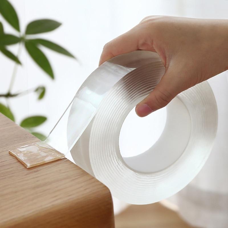1M/3M/5M Nano Magic cinta de doble cara transparente NoTrace reutilizable impermeable cinta adhesiva limpia hogar gekkotape