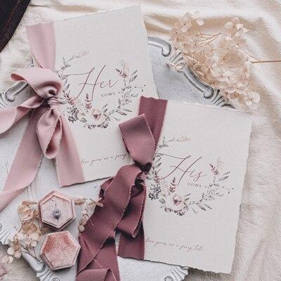 Desconto 2pcs favor do casamento avançada flora fita livro discurso antes de os convidados criativo cartão de voto dele e seus votos foto adereços