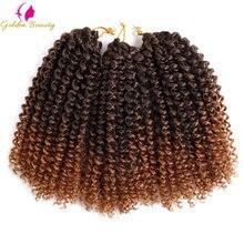 Trenzas Afro rizadas de ganchillo de 8 y 12 pulgadas, extensión de cabello sintético, bohemio, rizado, degradado, Marley, belleza dorada