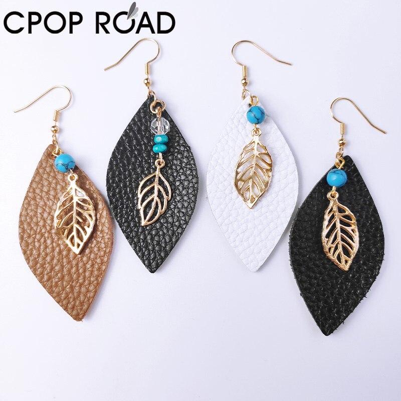 Cpop Cowhide Leather Earrings for Women Fashion Hair on Teardrop Earrings Leaf Boho Chic Stones Beaded Bohemia Female Jewelry