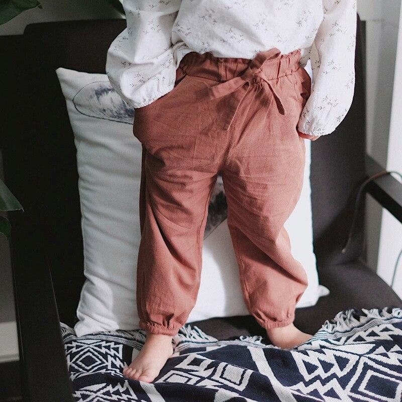 Para meninas calças de lazer crianças lanternas calças caramelo cor calças crianças crianças roupas meninas 8 a 12