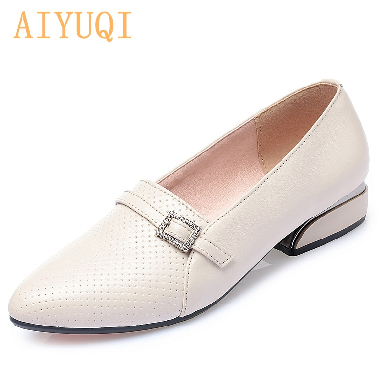 AIYUQI Shoes Ladies Spring 2021 New Genuine Leather Women's Casual Shoes Pointed Big Size 41 42 43 W