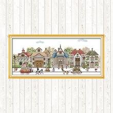 Street view-kits de broderie en tissu   Kits de point de croix du dimanche joie 14ct 11ct, kits de travaux manuels, bricolage