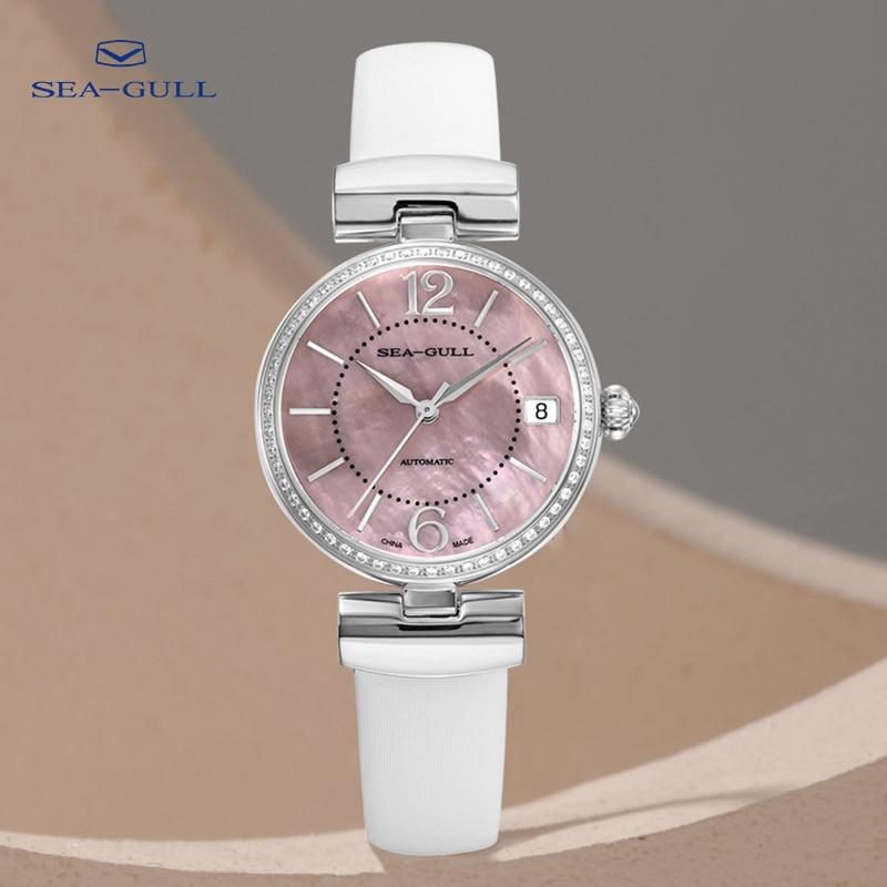 ساعة النورس السيدات ساعة ميكانيكية موضة ساعة ماسية الذهب مقاوم للماء ساعة التقويم 713.633L