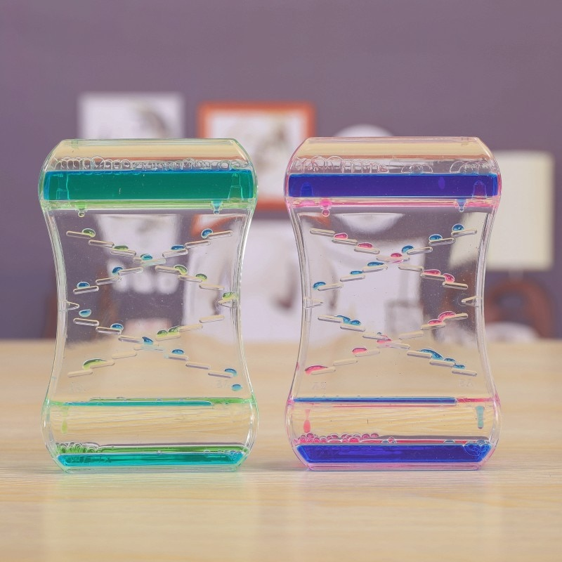 2pcs Double Colors Oil Hourglass Liquid Motion Bubble Timer with Pretty Waist Desk Decor Birthday Gift Children Toy enlarge