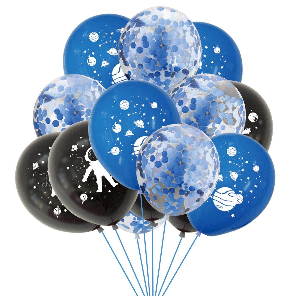 10 шт 12 дюймов космические воздушные шары космонавта синие Черные латексные баллоны конфетти Baloon Galaxy тема Дети День рождения украшение парт...