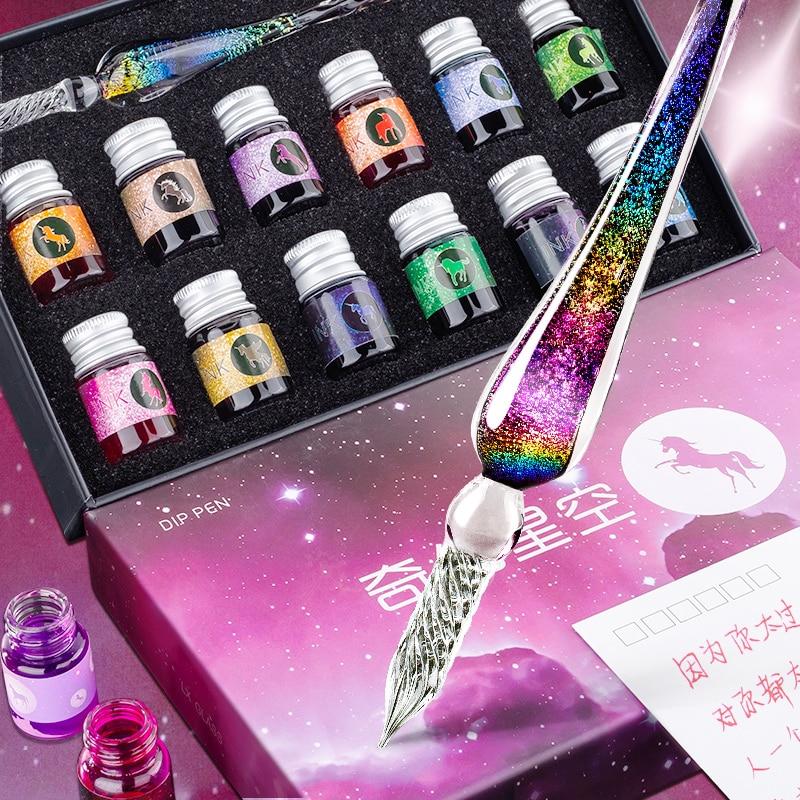 1 Dip Stift Plus 12 Flaschen Farbe Tinte Schreibwaren Set Glas Stift Student Schreibwaren Schreibwaren Malerei Stift Geschenk Box Banner Pens Aliexpress
