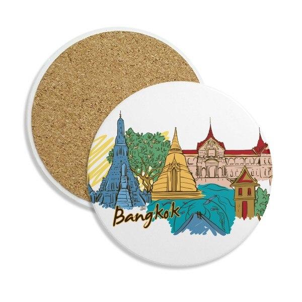 Tailândia bangkok watercolor pedra bebida cerâmica coasters para caneca copo presente 2 pces