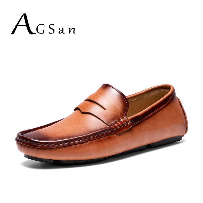 AGSan بيني المتسكعون الرجال جلد طبيعي الأعمال المتسكعون أحذية قيادة عالية الجودة البني عنابي أحذية الزفاف مكتب الأحذية