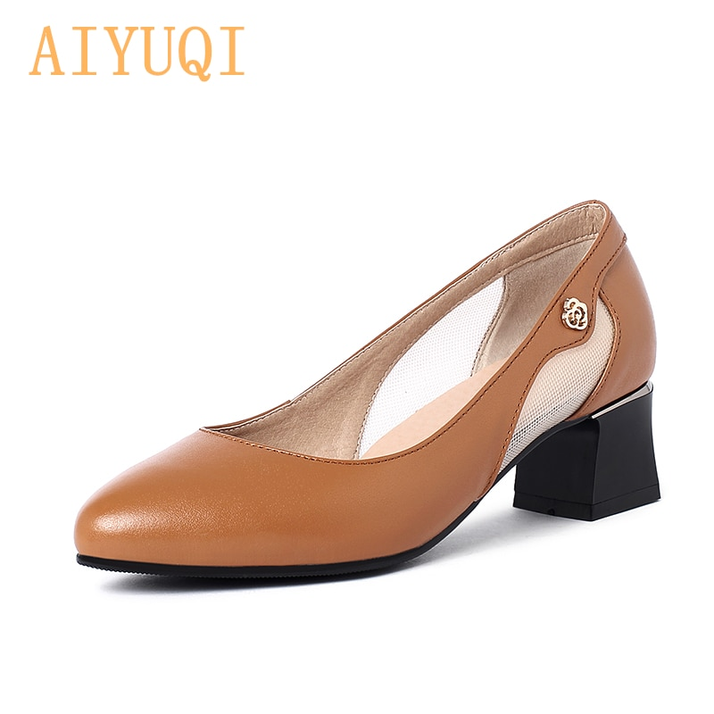 AIYUQI Women Spring Shoes 2021 New Genuine Leather Mid-heel Pointed Toe Hollow Mesh Fashion Summer Ladies