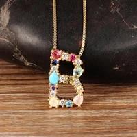 2020 wholesale 26pcs a z letter initial necklace copper cubic zirconia long chain alphabet pendants for family necklaces gift