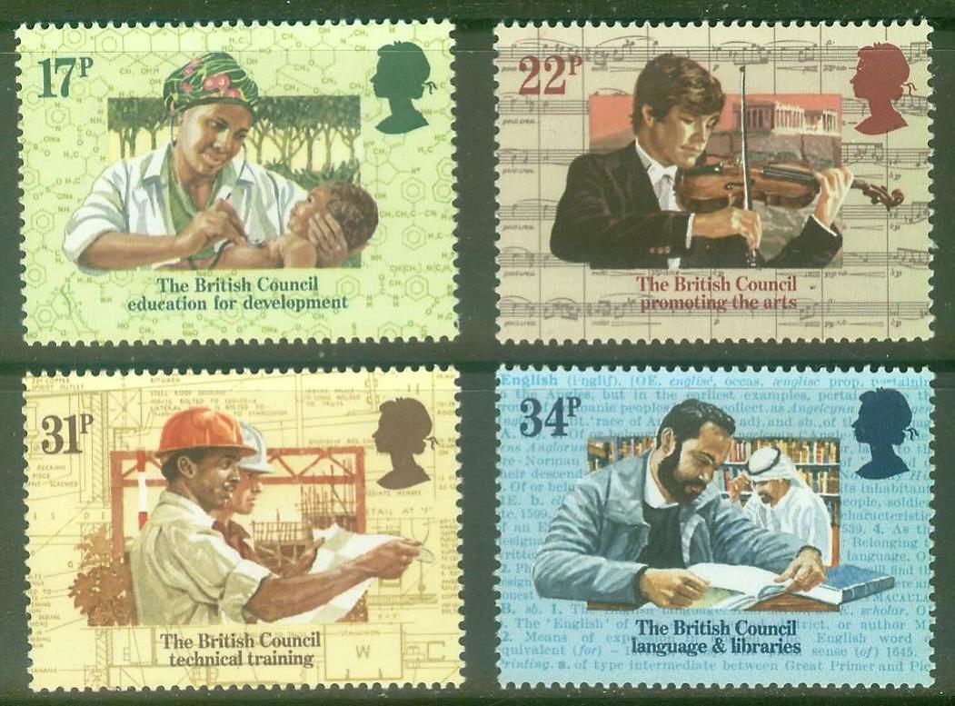 4 unids/set Nuevo Reino Unido GB Inglaterra poste británico sello 1984 50 aniversario de Asociación Cultural Reino Unido sellos MNH