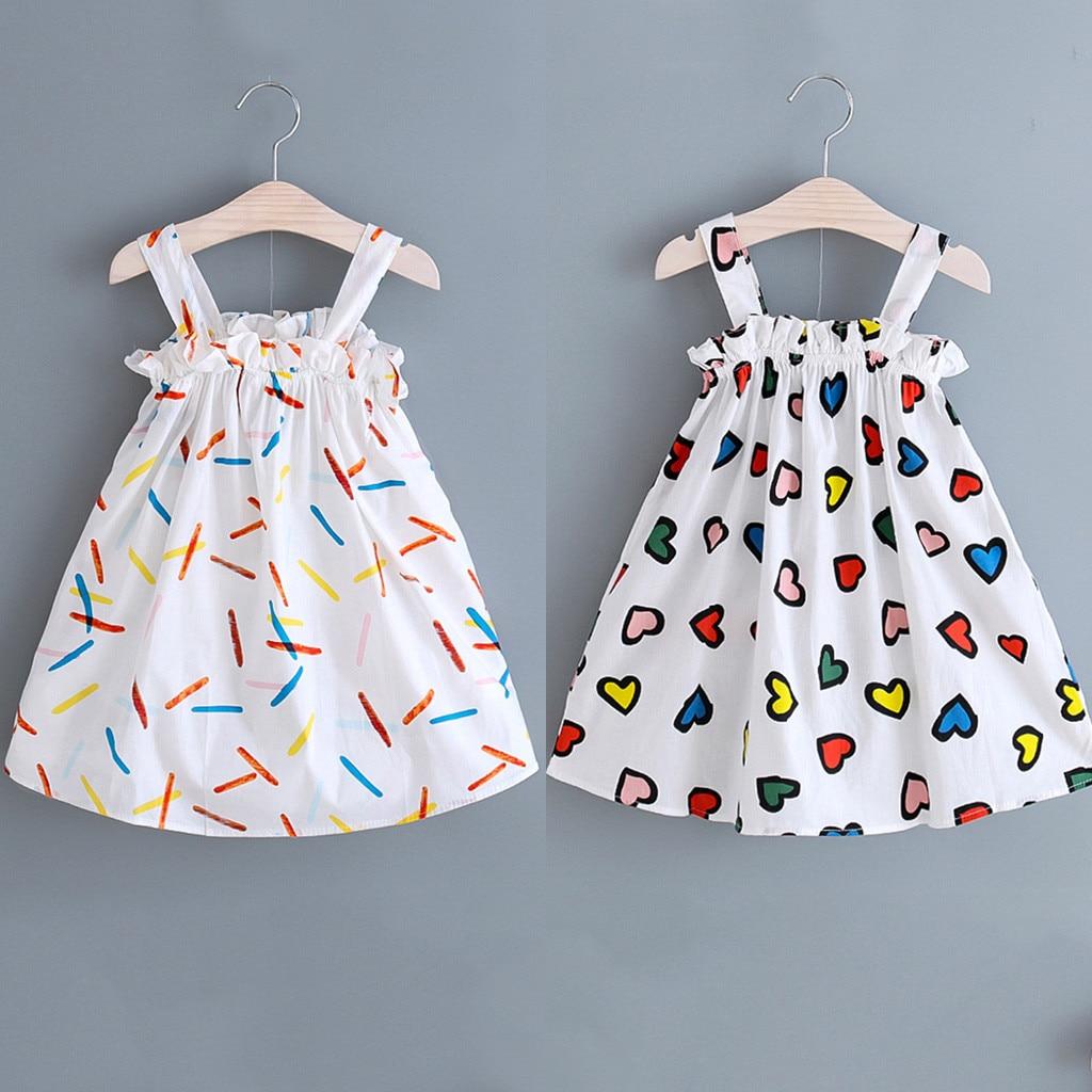 Summer Baby Girl Dress Girls Clothes Princess Dresses For Girls Clothing Suspenders Heart Stripe Print Princess Dress For Girl