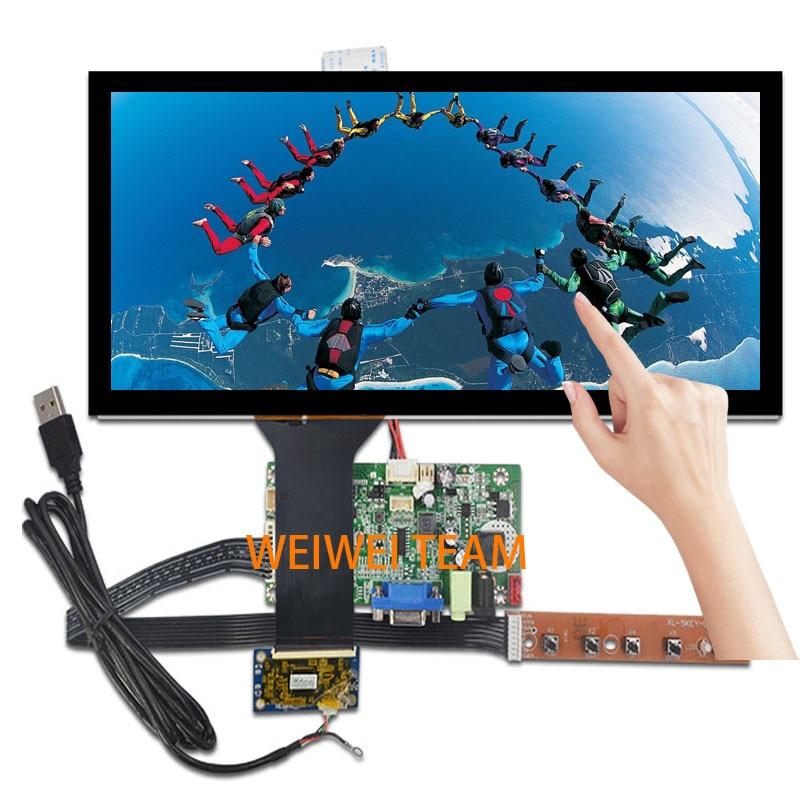 Wisecoco HSD123KPW1-A30 LCD مع لوحة اللمس 12.3 بوصة واسعة جدا امتدت شريط شاشة 1920*720 سيارة VGA LVDS وحة التحكم